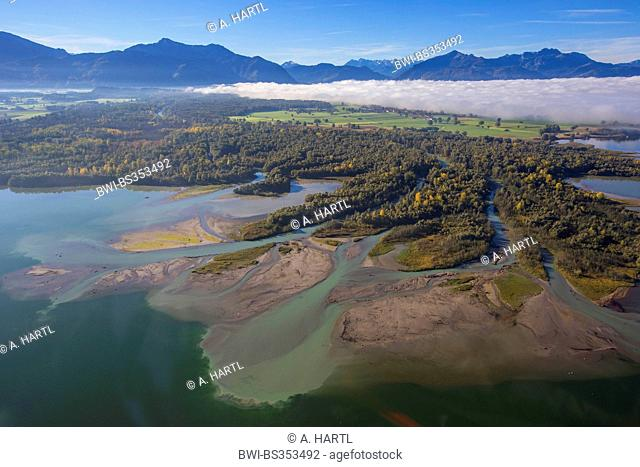 Chiemsee and Tiroler Achen river delta, Germany, Bavaria, Lake Chiemsee