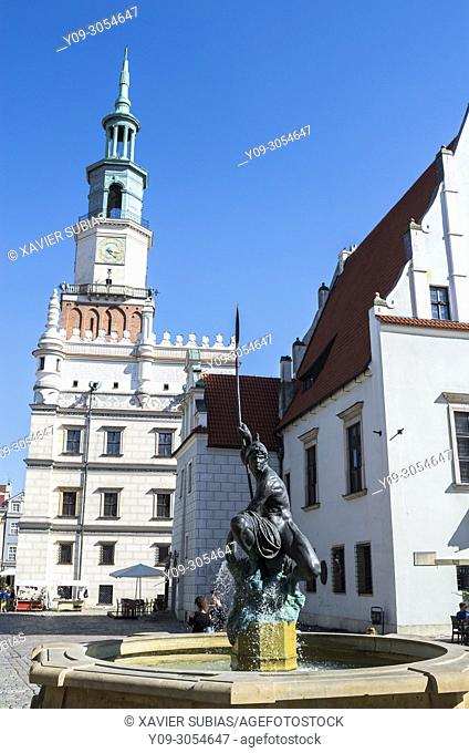 Mars fountain, Town Hall, Old Town Square, Poznan, Poland