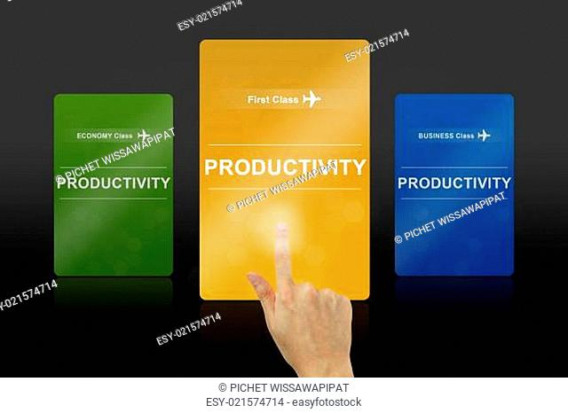 hand pushing on productivity gold card