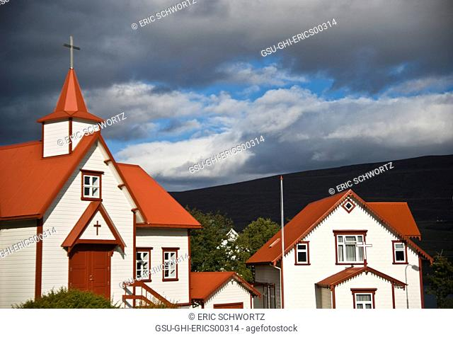 Red Roofed Catholic Churches and Cloudy Sky, Akureyri, Iceland