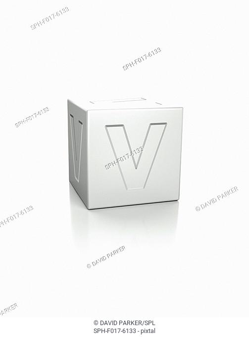 Cube with the letter V embossed