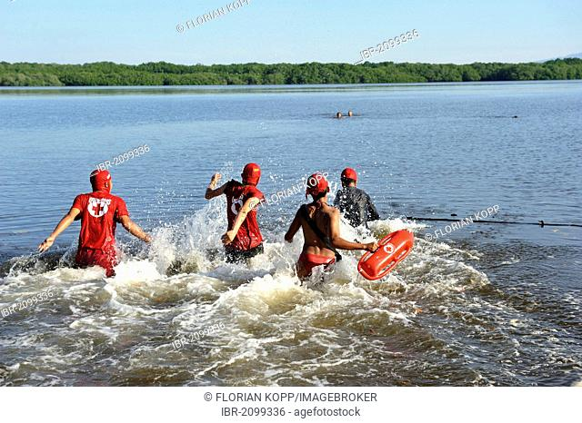 Red Cross lifeguards exercising in the Bahia de Jiquilisco bay, El Salvador is the country most vulnerable to natural disasters in the world, El Angel