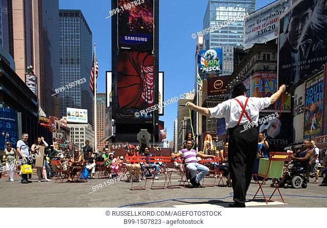 Sidewalk Street Performance Pedestrian Plaza Times Square Midtown Manhattan New York City USA