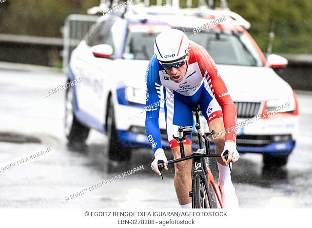 Bruno Armirail at Zumarraga, at the first stage of Itzulia, Basque Country Tour. Cycling Time Trial race