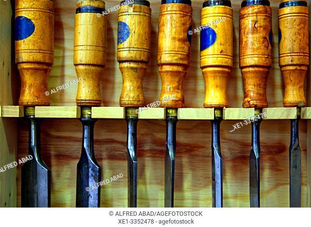 chisels, carpenter's tools, industrial polygon, plaza del Nou, Zona Franca, Barcelona, Catalonia, Spain