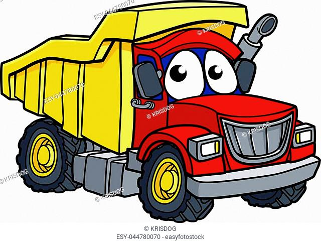 Dump tipper truck lorry construction vehicle cartoon character