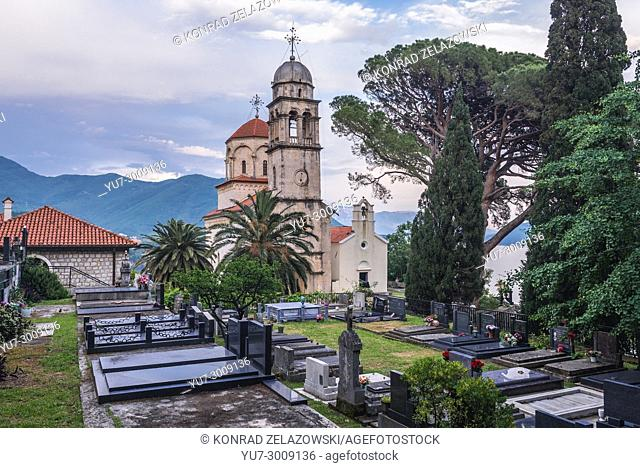 Cemetery and Great Temple of Dormition of Mother of God in Savina Monastery in Savinska Dubrava forest complex of Herceg Novi city in Montenegro
