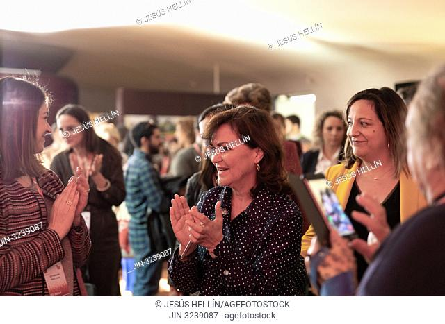 The Vice President of the Government, Carmen Calvo attended the first day of the European Socialist Convention at the Reina Sofia Museum in Madrid