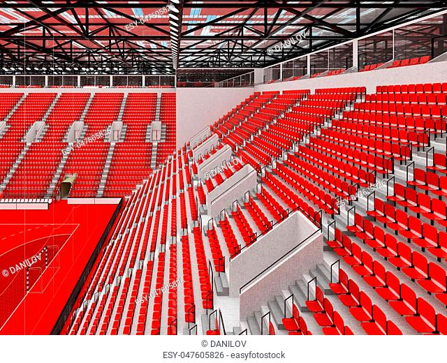 3D render of beautiful sports arena for handball with floodlights and red seats and VIP boxes for ten thousand people