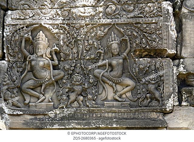 Cambodia, Angkor Wat 12th century A. D. Dancing Apsaras in the complex