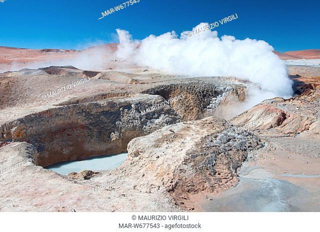 geyser sol de manana, riserva eduardo avaroa, los lipez, altopiano, bolivia, america del sud