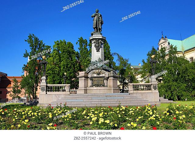 Statue and monument of Adam Mickiewicz in Warsaw, Poland