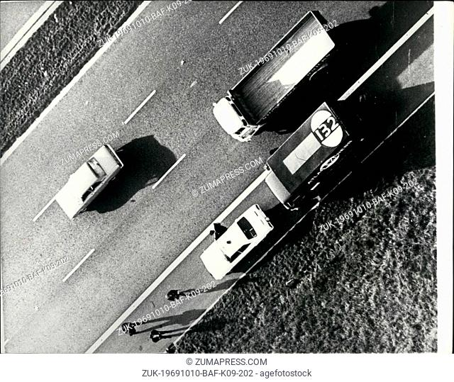 Oct. 10, 1969 - The Spy-in-the-sky helicopters employed to track down hijacked Lorries.: An operation was staged yesterday to demonstrate the efficiency of...