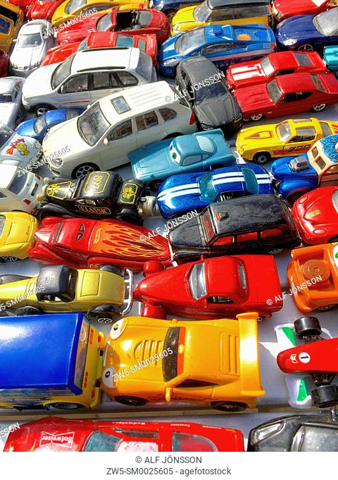 Toy cars for sale on a flea market in Ystad, Scania, Sweden