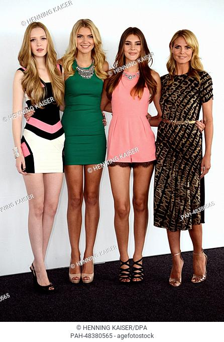 Finalists Ivana (L-R), Jolina, Stefanie and presenter Heidi Klum pose before a press conference on the upcoming finale of German reality television show...