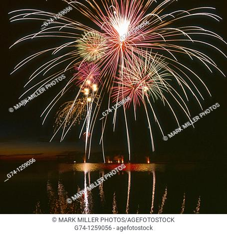 July 4th Celebration Fireworks at Copper Harbor on Lake Superiior Upper Peninsula Michigan USA
