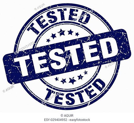 tested blue grunge round vintage rubber stamp