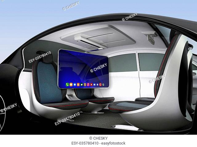 Autonomous car interior concept. Ceiling-mounted monitor help business man have video meeting when they moving on road. 3D rendering image