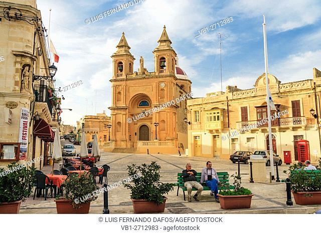 Main square at Marsaxlokk fishing village, Malta