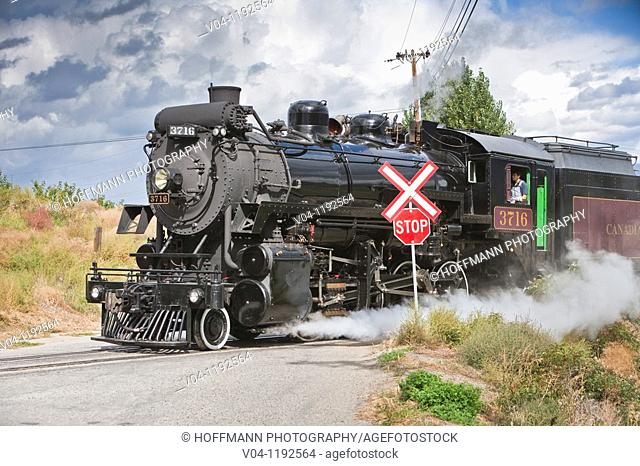 Steam locomotive of the Kettle Valley Railway in British Columbia, Canada