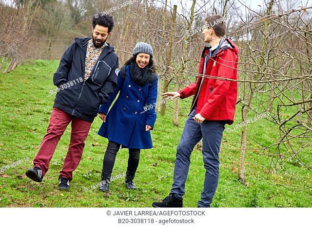 Tourists on a guided tour, Apple trees, Cider house, Sidreria Petritegi, Astigarraga, Gipuzkoa, Basque Country, Spain, Europe