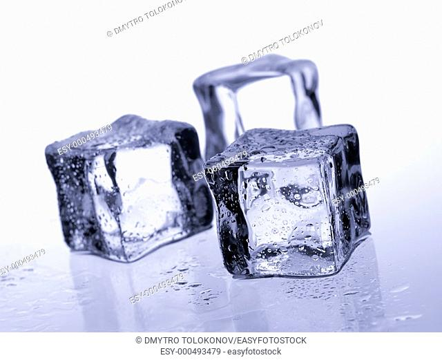 Ice cubes on the cool background  Abstract