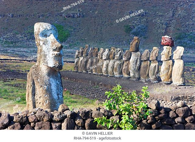 Ahu Tongariki, the largest ahu on the Island, Tongariki is a row of 15 giant stone Moai statues, Rapa Nui Easter Island, UNESCO World Heritage Site, Chile
