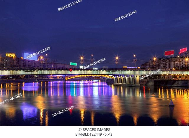 City skyline illuminated at night, Moscow, Russia