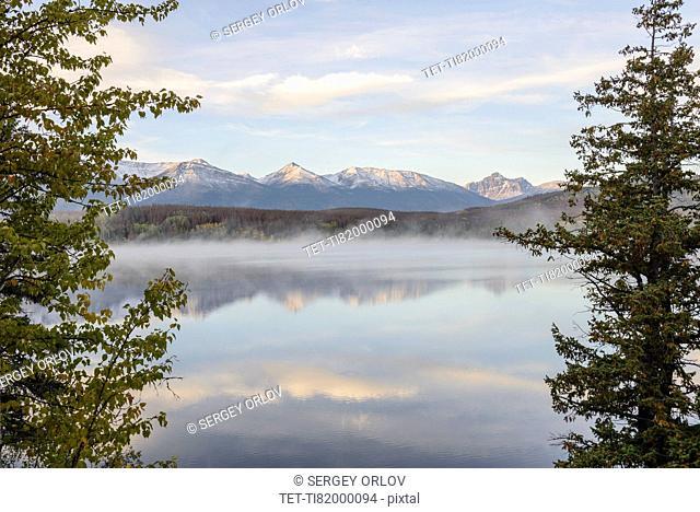 Canada, Alberta, Jasper, Mountain landscape and Patricia Lake in Jasper National Park