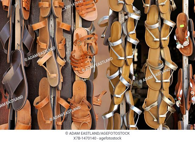 Rhodes  Dodecanese Islands  Greece  Leather sandals for sale on Sokratous Street, Old Town, Rhodes City