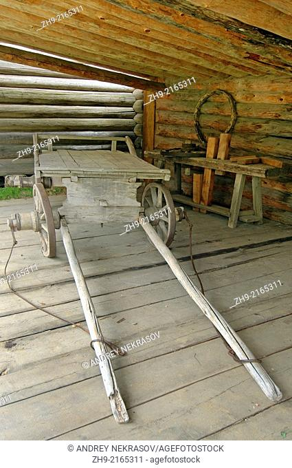 Wooden cart. Settlement Talzy, Irkutsk region, Baikal, Siberia, Russian Federation