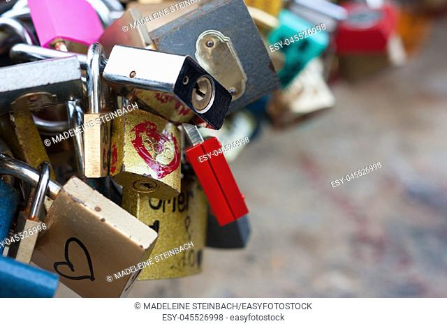 A bunch of love locks, with copy space