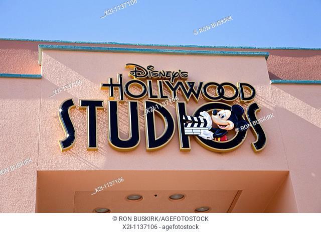 Orlando, FL - Feb 2009 - Disney's Hollywood Studios sign above walkway at Hollywood Studios theme park in Kissimmee Orlando Florida
