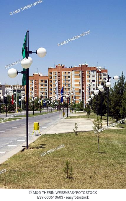 Residential buildings, Independence park, Ashgabat, Turkmenistan