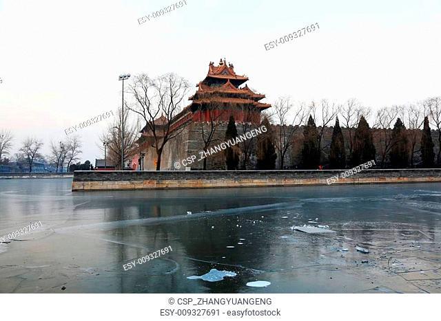 BEIJING - DECEMBER 22: The northeast turrets of the Forbidden City on december 22, 2013, beijing, china