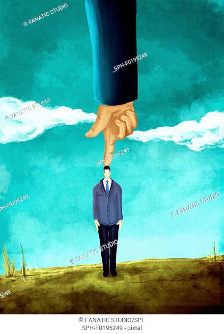 Illustration of hand pointing on businessman's head