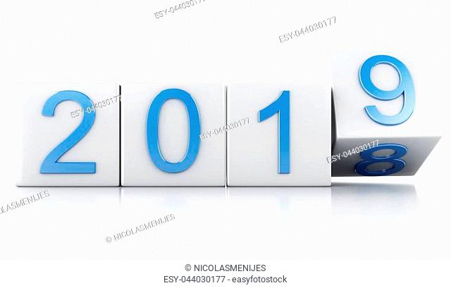 3d renderer illustration. White cubes with 2019. New Year concept. Isolated on white background