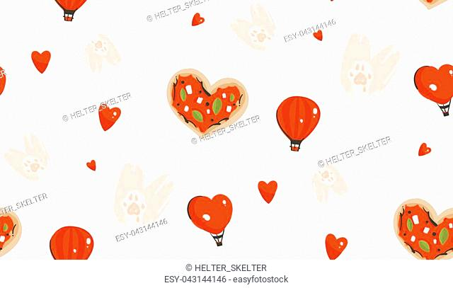 Hand drawn vector abstract modern cartoon Happy Valentines day concept seamless pattern with cute heart shape pizza,cats paws