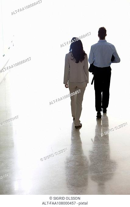 Business colleagues walking together in office corridor