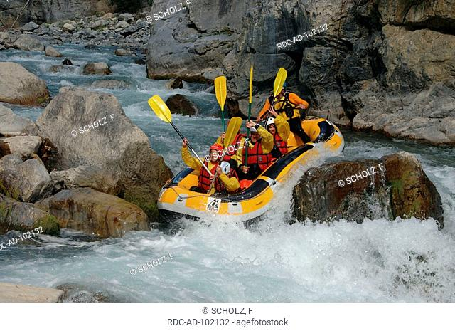 Rafting on river near Chateau Queyras Hautes-Alpes France