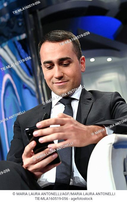 Italian Minister of Labor and Industry and Deputy Prime Minister Luigi Di Maio during the tv show Porta a porta, Rome, ITALY-15-05-2019