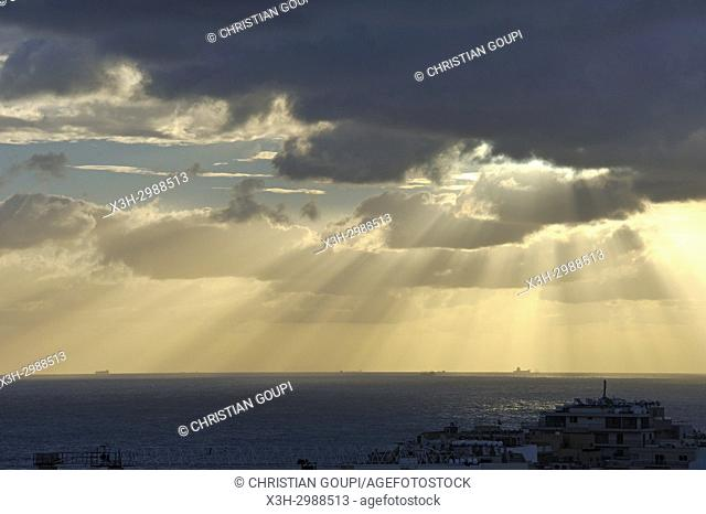 sunrise off the coast of Sliema, Malta, Mediterranean Sea, Southern Europe