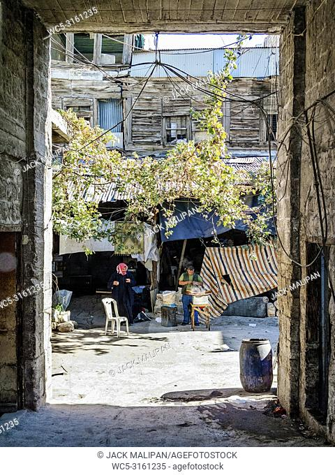 street view in central old aleppo city in syria