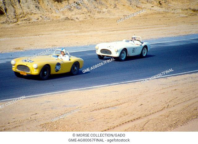 Action view at speed of Mr. Jordan King driving his yellow AC Ace Bristol No. 246 sports car during the SCCA National Races at Bridgehamton, New York, 1959