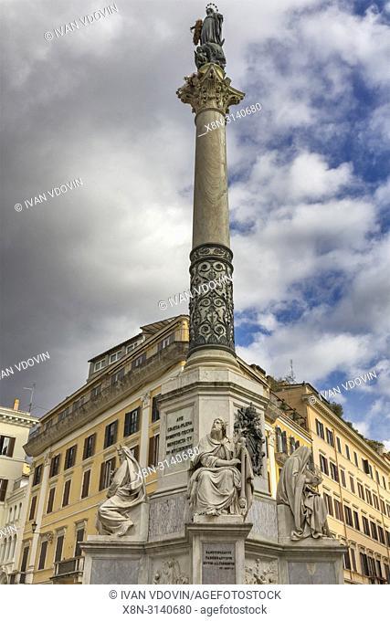 Column of the Immaculate Conception, Colonna della Immacolata (1857), Piazza di Spagna, Rome, Lazio, Italy