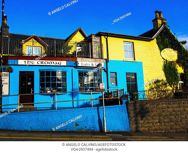 Gift shop and seafood restaurant, Mallaig, Scotland, UK