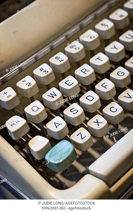 Close up of Vintage 1950's Portable Typewriter Keyboard, Offered for Sale in a Manhattan, New York City Thrift Shop