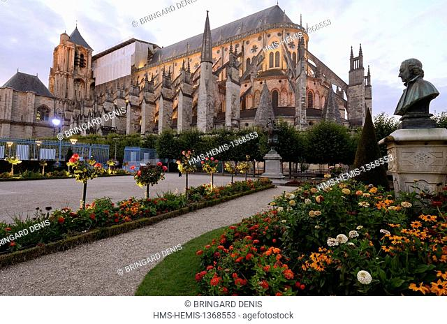 France, Cher, Bourges, Cathedral of St Etienne of Bourges, listed as World Heritage by UNESCO, the Archdiocese Garden during the Light Nights