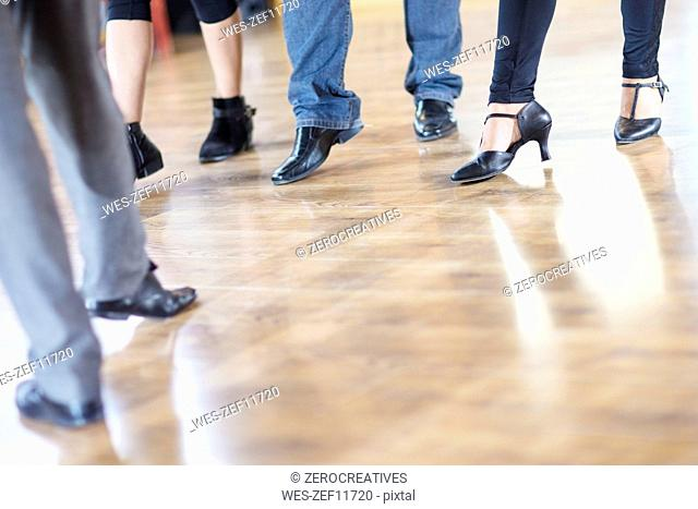 Dance class footwork in studio