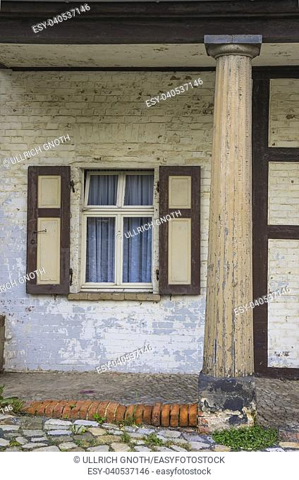 Window and column at the gatehouse of the castle of Quedlinburg, Saxony-Anhalt, Germany